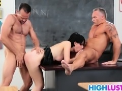 Two big dicks for schoolgirl Allora Ashlyn