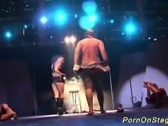 extreme needle fetish on public stage