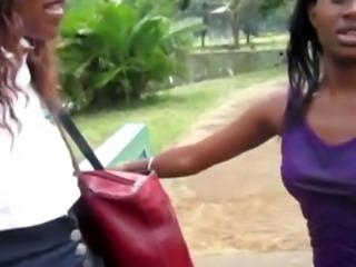 Amateur black hooker picked up for hot lesbian shower sex