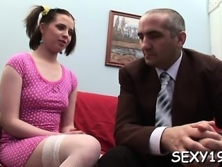 Pleasing darling is offering her muff for teacher's delight