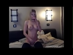 Naughty blonde love to show off perfect body on webcam live - Plenty more at Poo
