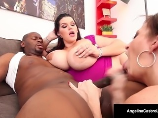 Cuban BBW Angelina Castro & Sara Jay Suck A Big Black Cock!