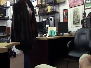 Erotic beauty Tyler gets fucked in the pawnshop while wearing a fur co