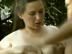 Pregnant babe gives titjob and blowjob outdoors