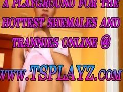 Teen ladyboy Eve in pink lingerie masturbates her cock