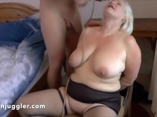 Blonde Granny wets the chair