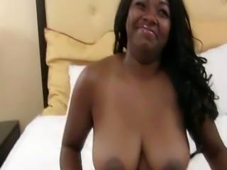 Thick black big tit blows white