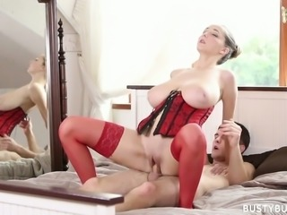 Busty Buffy has got humongous breasts and this babe loves sensual sex