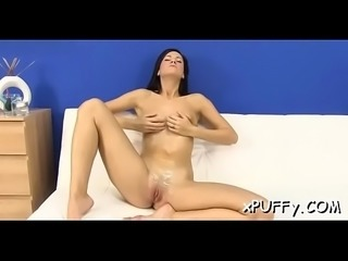 Slippery moist dildo plowing