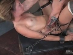While her master's fat cock is sliding deeper inside her mouth, filling...