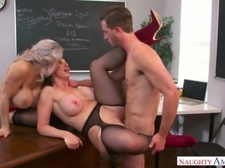 Curvy teachers Alyssa Lynn and Sara Jay team up to fuck their student
