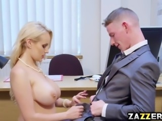 Angel Wicks rides the interns hard cock bounce her pussy