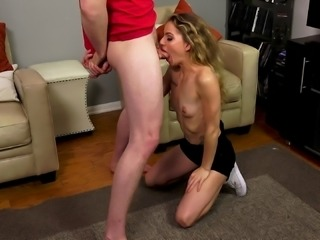 Alana Summer having fun with Jake Jace's pink throbbing schlong