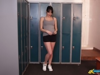 Charlie Elaine loves to show off her smoking hot body in the locker room