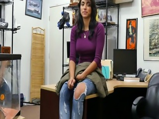 Brunette latina Jessi gets banged in the pawnshop for cash