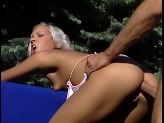 Puffy blonde outdoor anal