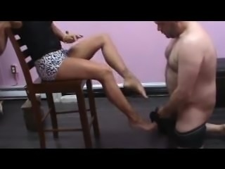 Loser cumming on Princess' feet and licking it up