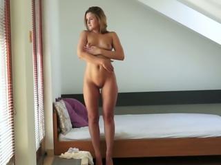 Marvelous solo action of a fresh European blonde girlfriend
