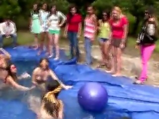 College Sorority Pledges Outdoors Naked Splashing In Pool