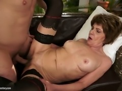 Filthy granny with saggy tits is happy to fuck handsome young stud