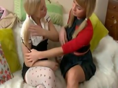 Naughty blonde schoolgirls fill each others holes with toys
