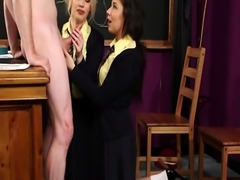 CFNM schoolgirls blowing teachers hard cock