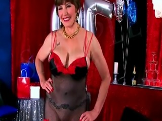 Two Cocks for Mature in Red Hot Lingerie