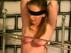 Blonde babe gets boobs squeezed by kinky stud