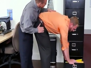 Anally banged office hunk pleases his boss