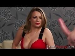 Cfnm domina masturbates