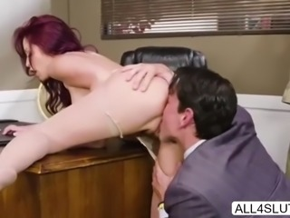 Sexy Monique gives her boss erotic sex
