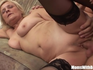 Blonde Granny In Stockings Hammered By Young Cock