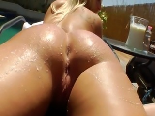 Poolside lesbian babes analy squirting milk