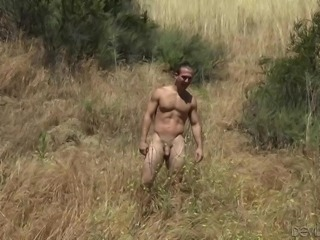 This amazing sexy babe with curly bush just planned to sunbathe naked, while nobody sees her, but everything got out of control. Watch how she rubs some stranger's hard dick on her hairy pussy and... Relax and enjoy impetuous sex action in the fields!