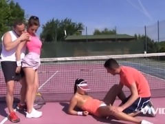 2 young girls prefer to fuck rather than play tennis