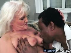 Grandma cum facialized
