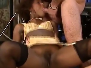 Horny African slut gets gang banged roughly