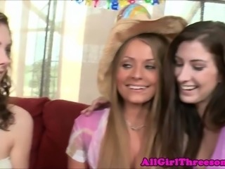 20yo lesbo celebrates with strapon orgy