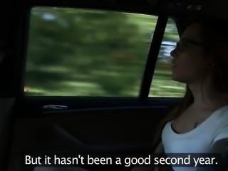 European taxi driver pussylicking redhead gal