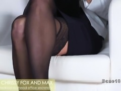 Blonde secretary bangs her young boss
