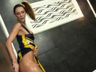 Cheerleader gets facial