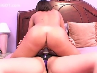 Asian girl screws first time college lesbian with strap on