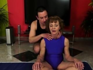Anally fucked granny enjoys a younger cock
