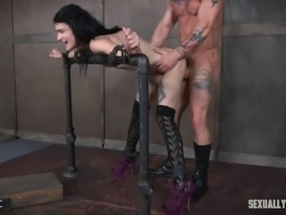 Watch this tattoed sub being given a hard lesson in being a good subservient. She can't help but let her masters use her tight little body as much as they like, pushing their hard dicks against her, until they slide deep inside her soft flesh. Both her pussy and face get fucked, and she likes it