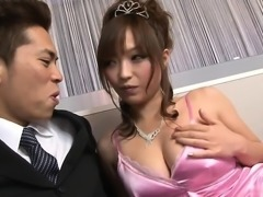 Sexy prom queen princess in silk pink dress gets banged...