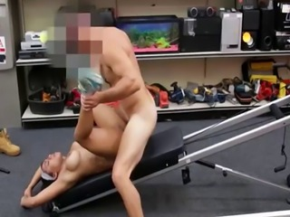 Busty ebony pawnee fucked on workout machine