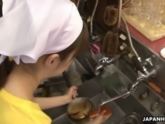 Lustful Japanese cook Mimi Asuka gets her pussy toyed at cafe