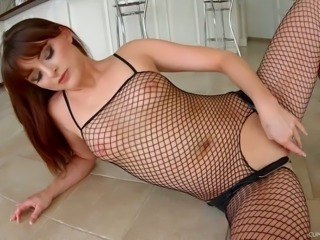 Lydia Lust looks hot in her fishnet bodystocking and she gives fantastic BJs