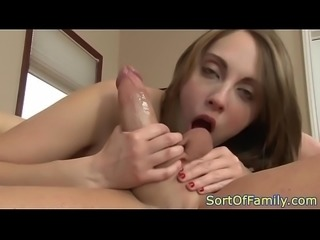 Young stepdaughter anally riding her stepdad