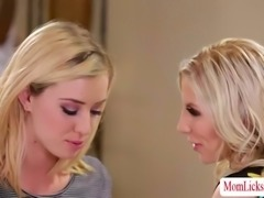 Blonde ladies MILF Ashley and teen Haley adores pussy tribbing